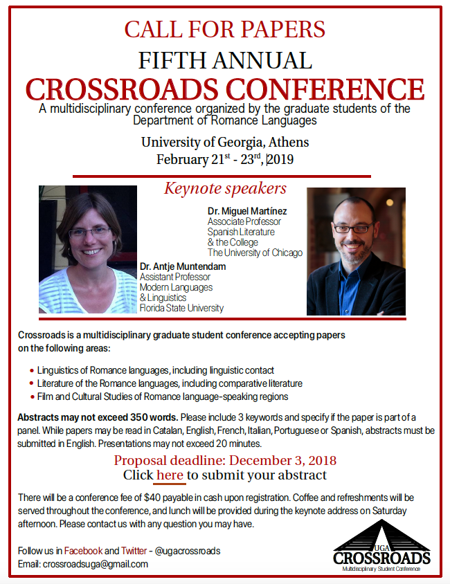 Call for Papers for the 2019 Crossroads Conference
